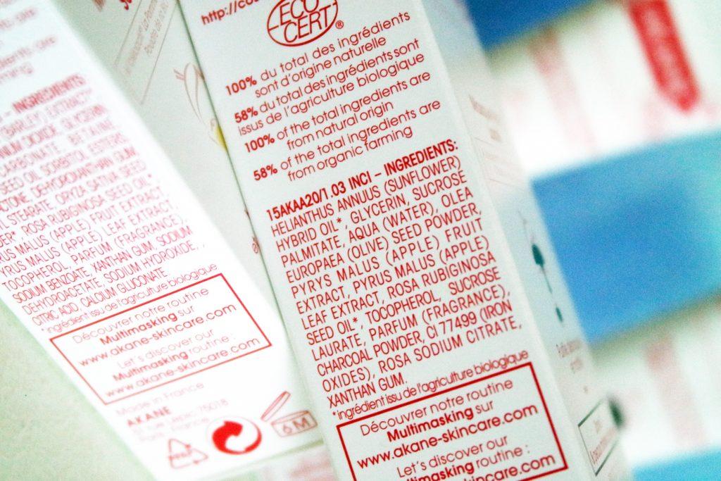 Akane liste ingrédient masque
