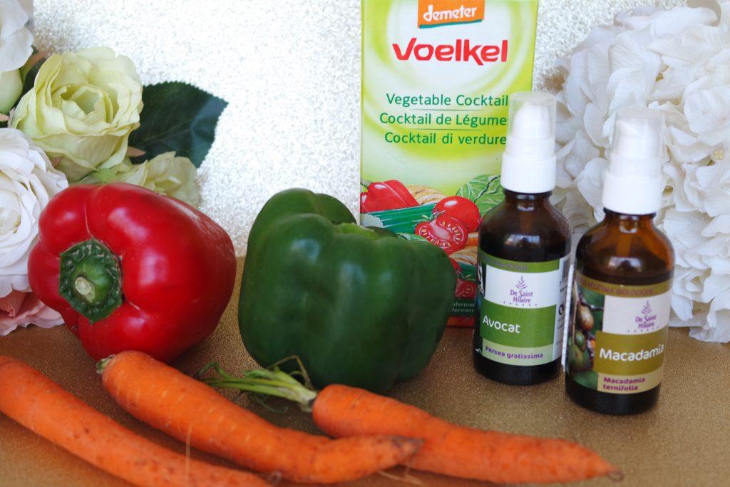 legumes poivrons, carottes, huiles végétales, jus de légumes