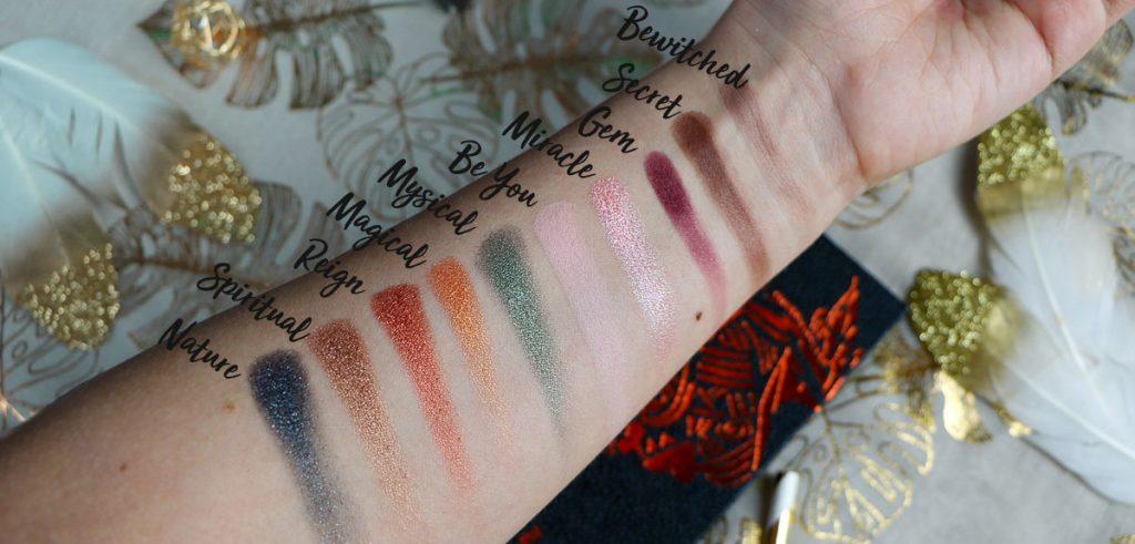 swatch de la palette Eye Magic de Lovinah Beauty